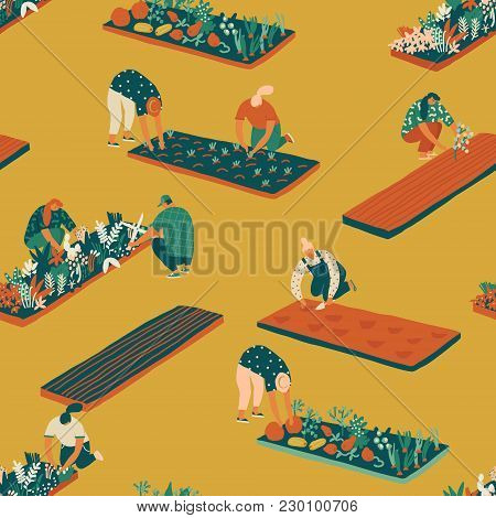 Gardening And Farming Seamless Pattern. Farmer Gardener Cartoon People Growing Vegetables And Flower