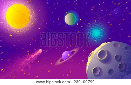 Dynamic Colorful Outer Space Background With Planet In The Foreground. Illustration
