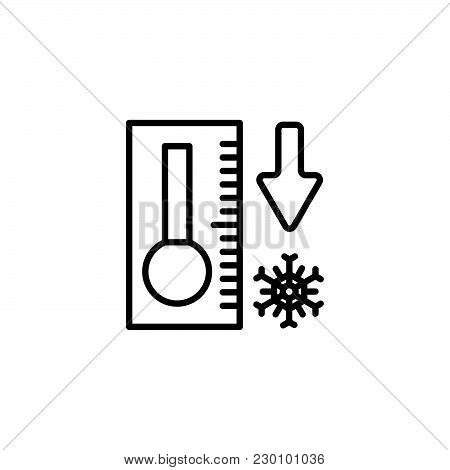 Web Icon. Thermometer With Low Temperature Black On White Background