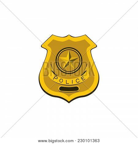 Color Vector Image. Police Badge, Policeman Illustration