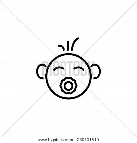 Web Line Icon. Baby With Pacifier Black On White Background