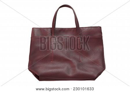 Red Leather Shopper Bag On White Background