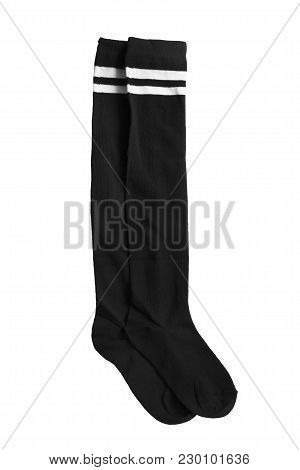 Pair Of Black Sport Knee Socks On White Background