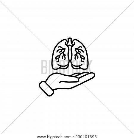 Web Line Icon. Lungs In Hand Black On White Background