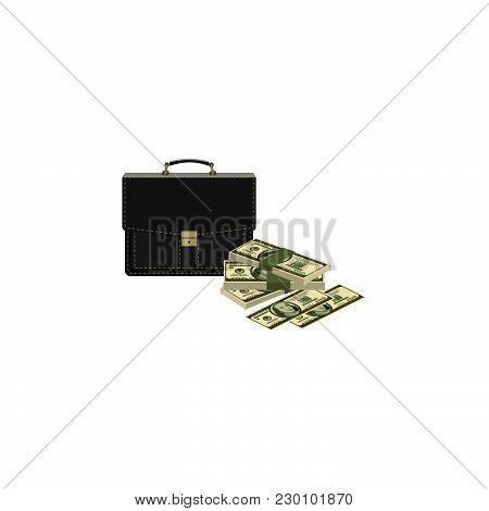 Color Vector Image. Portfolio And Money. Briefcase And Cash. Case And Dollars
