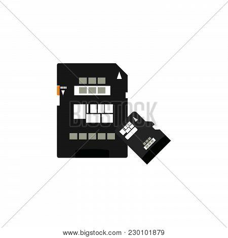 Color Vector Image. Sd Card Icon, Memory Card, Micro Sd Card