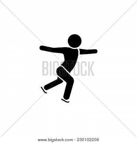 Vector Illustration. Figure Skating Icon.  Ice Skater Icon