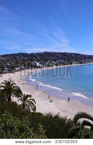 Laguna Beach California - Main Beach. View of Laguna's World Famous Main Beach as seen from the Look Out Point above and to the south west. Laguna Beach is a Travel and Vacation destination.