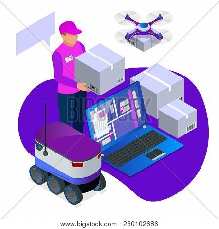 Express Home Delivery. Courier Gives The Woman A Box. Shopping Online. Free Shipping, 24 Hour Delive
