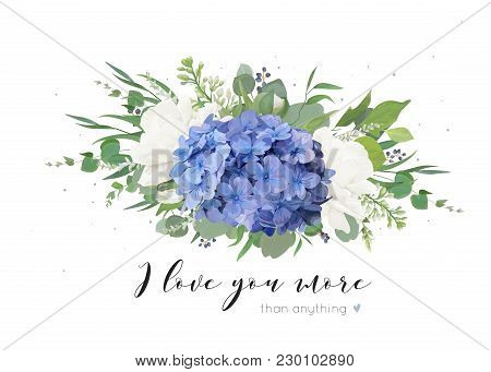 Vector Floral Card Design With Tender Bouquet Of Blue Hydrangea Flower, White Garden Roses, Poppies,