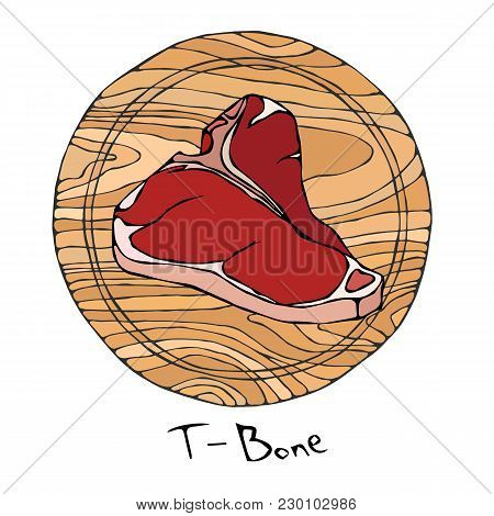 Most Popular Steak T-bone On A Round Wooden Cutting Board. Beef Cut. Meat Guide For Butcher Shop Or