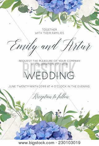 Wedding Floral Invite, Invitation, Card Design With Elegant Bouquet Of Blue Hydrangea Flowers, White