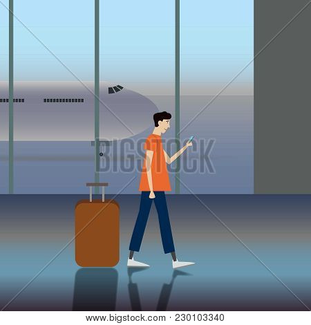 Simple Cartoon Of A Man Carrying A Luggage At The Airport, Business Trip Or Travel Vector Concepts I