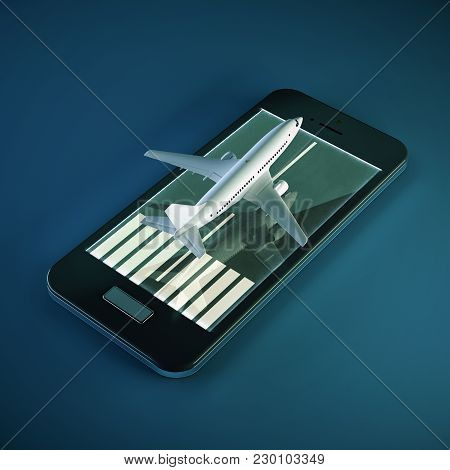3d Render White Passenger Plane Taking Off From The Runway On The Smartphone Screen. Online Booking