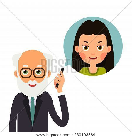 Grandfather With Phone. Elderly Man Holds Phone In Her Hand And Represents Image Of Granddaughter Wi