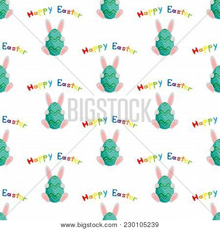 Easter Bunny With Egg. Happy Easter. Vector Illustration On White Background. Seamless Pattern. Flat