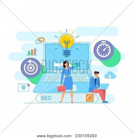 Se O, Sem And Promotion.digital Marketing Concept.search Engine Optimazation Vector Illustration