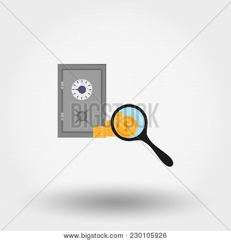 Safe. Savings Under Supervision. Icon For Web And Mobile Application. Vector Illustration On A White
