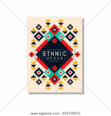Ethnic Style Card Template Original Design, Ethno Tribal Geometric Ornament, Trendy Pattern Element