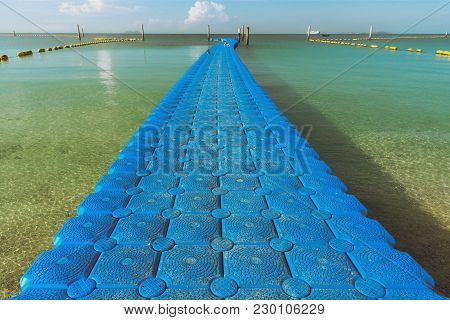 Plastic Floating Bridge Pier For Tourist On The Beach At Koh Larn,pattaya,thailand.