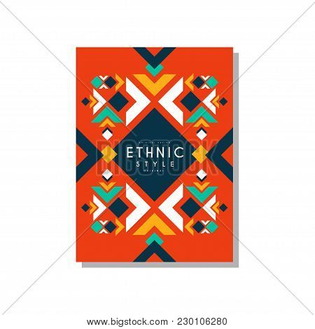 Ethnic Style Abstract Original Card, Ethno Tribal Geometric Design Ornament, Trendy Pattern Element