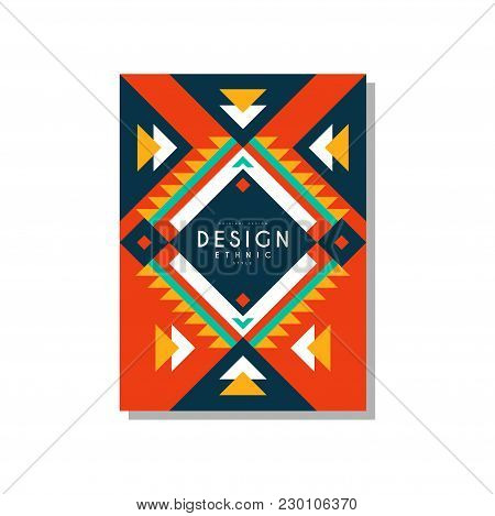 Design Ethnic Style Card, Ethno Tribal Geometric Ornament, Trendy Pattern Element For Business, Invi