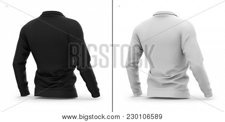Men's zip neck pullover with raglan sleeves, rubber cuffs and collar. 3d rendering. Clipping paths included: whole object, collar, sleeve, zipper. Highlights and shadows mock-up template.