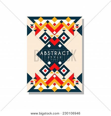 Abstrat Style Ethnic Card Temlate, Colorful Ethno Tribal Geometric Ornament, Trendy Pattern Element