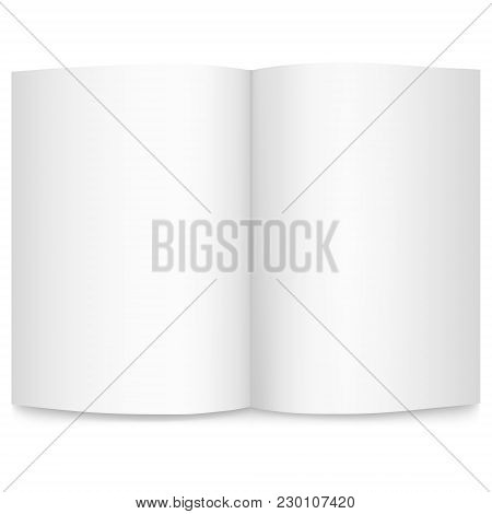 Isolated On White Background Vector Realistic Image Of A Sheet Of Paper, Top View. Empty Sheet Of A4