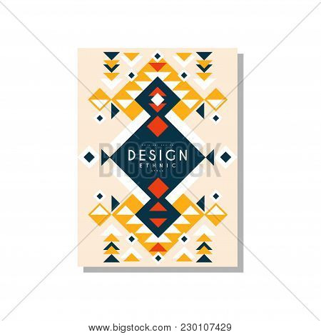Design Ethnic Style, Ethno Tribal Geometric Ornament, Trendy Pattern Element For Business Card, Logo