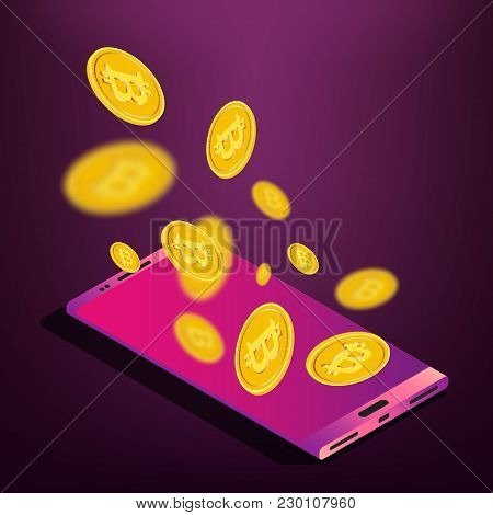 Isometric Smartphone Device, Gold Bitcoin Coins Crypto Currency Mobile Mining Concept, Vector Illust