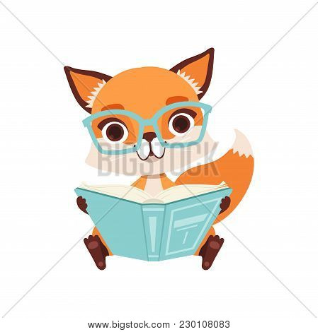 Cute Clever Fox Character Sitting And Reading A Book, Funny Forest Animal Vector Illustration Isolat
