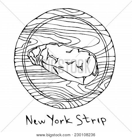 Most Popular Steak New York Strip On A Round Wooden Cutting Board. Beef Cut. Meat Guide For Butcher