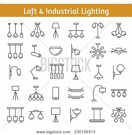 Industrial & Loft Lighting. Interior Light Fixtures. Devices For Illumination Of House, Storage, Res