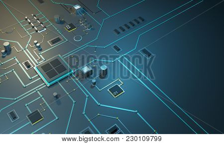 High Tech Electronic Pcb Printed Circuit Board With Processor, Microchips And Glowing Digital Electr
