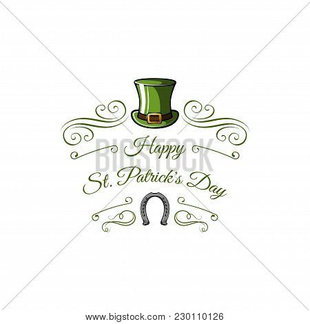 Logo For Saint Patricks Day With Green Leprechaun Hat, Horseshoe And Swirls. Vector Illustration.