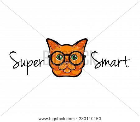 Vector Illustration Portrait Of Smart Red Cat. Cat In Glasses. Cat Geek. Vector Illustration. Super