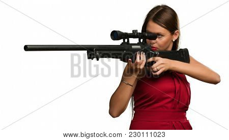 Girl Aiming With Gun On White Background