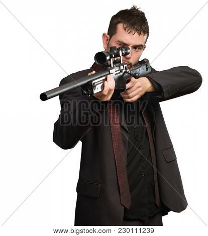 Young Man Aiming With Rifle Isolated On White Background