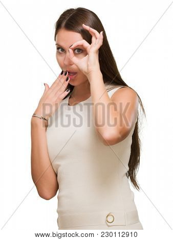 Surprised Young Woman Looking Through Imaginary Binocular On White Background