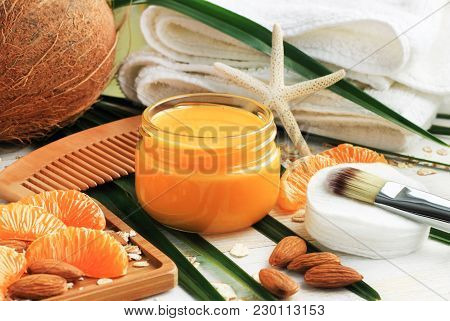 Nourishing Natural Skin Care, Bright Fresh Tangerine Fruit Slices, Orange Jar Of Aromatic Facial Cre