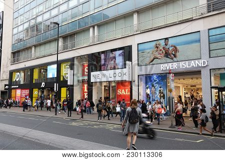 London, Uk - July 6, 2016: People Shop At Oxford Street In London. Oxford Street Has Approximately H