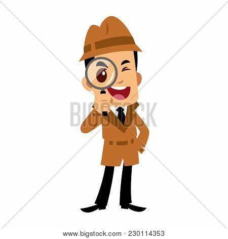 Vector Drawing Of A Detective Man, He Is Looking Through A Magnifying Glass