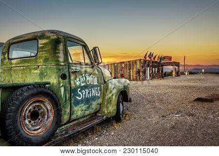 Cool Springs, Arizona, Usa - May 19, 2016: Car Wreck And Rebuilt Cool Springs Station In The Mojave