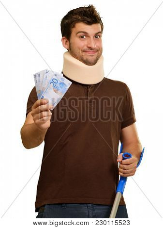 Disabled Man With Neck Brace Holding Euro Note Isolated On White Background