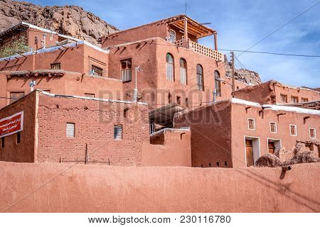 Abyaneh, Iran - October 19, 2016: Characteristic Reddish Hue Houses In Abyaneh Village, One Of The O