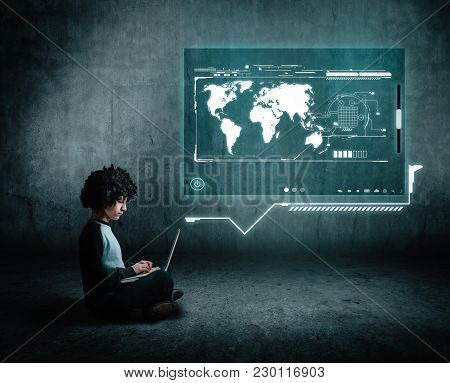 Man Using Laptop, Hologram Of A Digital Screen With Data.