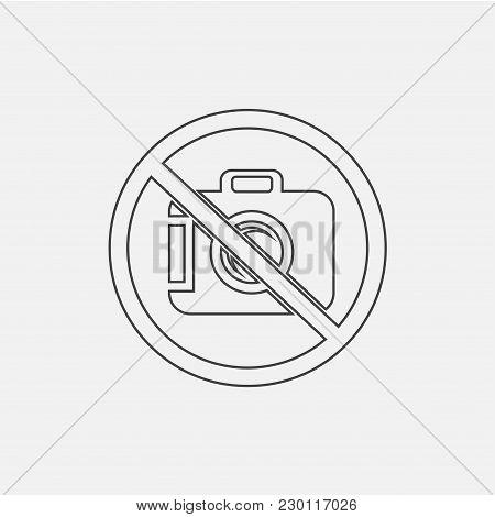 No Photo Vector Icon Illustration, No Camera Icon Vector