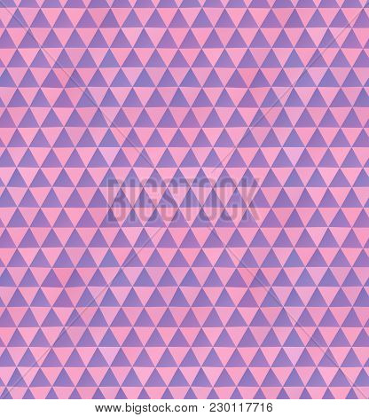 Abstract Seamless Pattern Of Irregular Triangles In Pink And Purple Colors