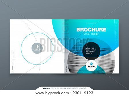 Square Brochure Design. Blue Teal Corporate Business Rectangle Template Brochure, Report, Catalog, M